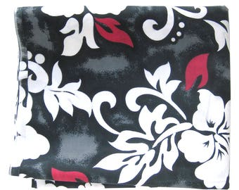 Hibiscus Flower Tropical Print Cotton Fabric -Tiki Print in Black White Gray and Red with Opaque White