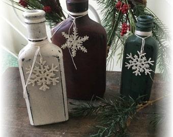 Primitive Vintage Painted Medicine Jars Bottles Christmas Cupboard Tuck Shelf