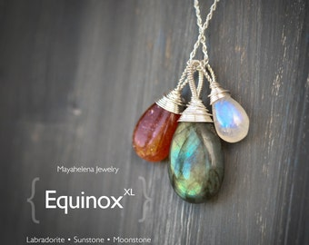The Equinox XL  - Labradorite Moonstone and Sunstone Wire Wrapped Sterling Silver Necklace