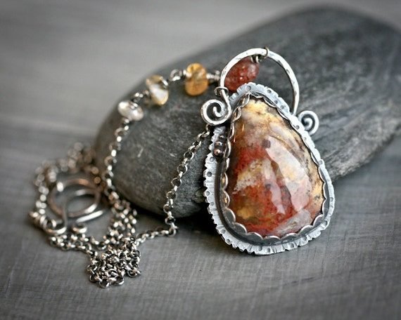 Priday Moss Agate Set in Sterling and Fine Silver Pendant