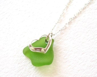 Bright Green Peridot Sea Glass Necklace with Sterling Silver Heart Charm