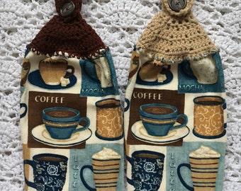 Coffee Kitchen Towel Set, Crochet-Top Towel Set, Coffee Lovers, Kitchen Towel set, Coffee Towel set, Coffee Gift