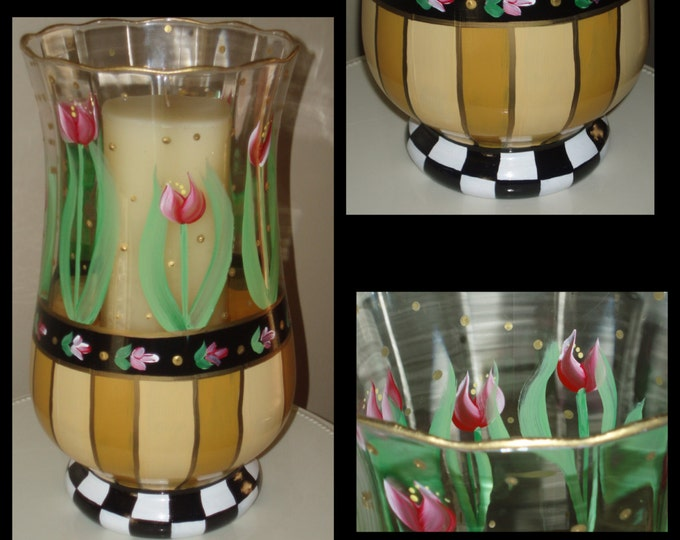 Whimsical painted vase, whimsical decor, Alice in wonderland, Hand Painted Glass Hurricane Candle