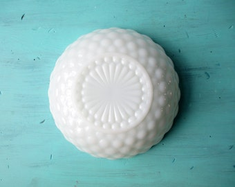 Vintage Milk Glass Serving Bowl Anchor Hocking Bubble Bowl - Weddings Bridal Tea Parties