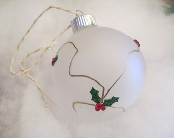 Golden Holly Frosted Glass Christmas Holiday Ornament