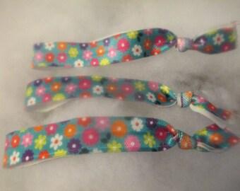 3 Flowered No Crease Elastic Hair Ties Jenuine Crafts