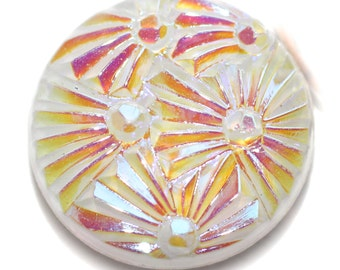 Button ~ Glass White Glass Moonglow Pictorial - Small
