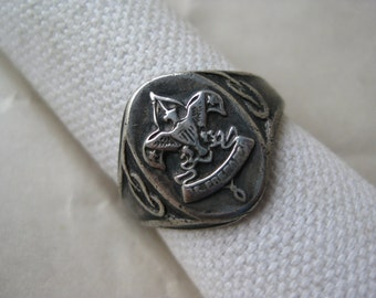 BSA Boy Scouts Sterling Ring Be Prepared Vintage size 9 925 Silver