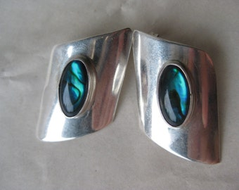 Blue Mother of Pearl Sterling Earrings Post Pierced Silver 925 Shell Southwest Cab