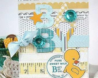 shabby baby card-BABY DUCK-NEW infant shower greeting
