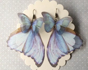 Handmade Pale Blue Morpho Butterfly Wings Earrings, unique earrings, butterfly earrings, silk organza earrings, iridescense