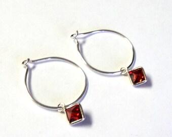 "Minimalist Sterling Silver Red Cubic Zirconia Drop Hoop Pierced Dangle Earrings, 1"" Long, Gift for her Takuniquedesigns"