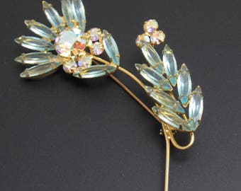 Juliana Half Flower Rhinestone Brooch Blue Vintage  P8002