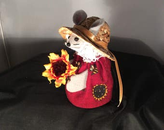 Mouse with a Sunflower. NEW LOWER PRICE
