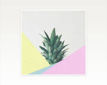 Pineapple Art, Tropical Fruit Print, Abstract Photography, Minimal Colourful Wall Decor - Pineapple Dip V