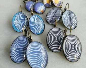 Modern Earrings, Blue, Black, Stripes, Bold Graphics, Spring Jewelry