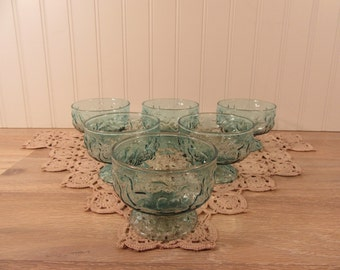 6 vintage Anchor Hocking Milano Lido teal blue crinkle glass footed bowls for one price- rare color, beautiful, fine condition, ready to use