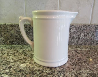 Old white ironstone milk pitcher- Homer Laughlin- solid, weighty, nice condition