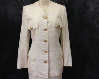Vintage 1990's Gianni Versace Couture white crinkled wrinkled linen skirt suit small 40 summer suit
