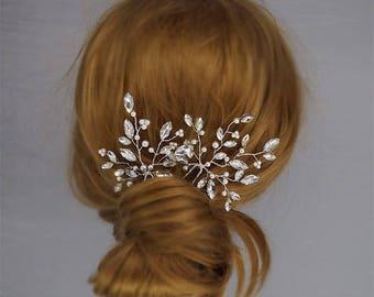 Wedding Hair Clips, Bridal Hair Pieces, Wedding hair pins, Gold Hair pins, Rhinestone Headpiece, Crystal Hairpins