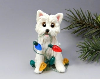 Westie West Highland White Terrier Christmas Ornament Figurine Lights Porcelain