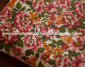 Pink and Orange Garden - Vintage Fabric  60s 70s New Old Stock Floral Flowers