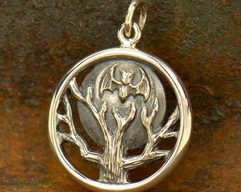 Bat Moon and Tree Necklace - Solid 925 Sterling Silver Auspicious Feng Shui Fortune Symbol Charm - Insurance Included