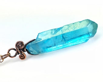 Aqua Aura Quartz Necklace: Healing Iridescent Blue Rainbow Crystal, Nickel Free Copper, Hypoallergenic Jewelry, Boho Chic, Gypsy Talisman