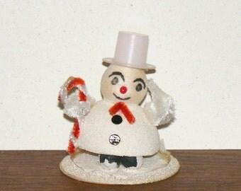 Vintage Paper Mache Spun Cotton Snowman with Chenille Candy Cane