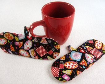 Hot Holders Microwave Oven Finger Mitts - Pizza Party, Pizza, Black, Red, Magnetic Pot Holder, Mini Mitt, Finger Mitt, Mini Pot Holder
