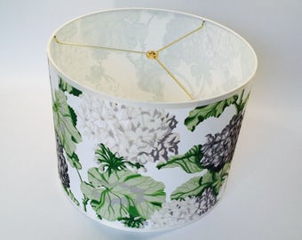 Floral fabric drum shade, hydrangeas