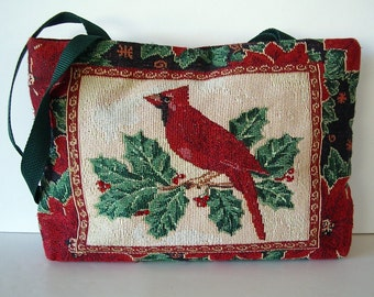 ON SALE Christmas Holiday Purse Tote Cardinal and Holly Two Different Sides