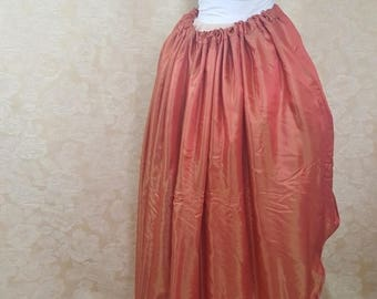 SALE BLACK FRIDAY Sale Red Orange Shot Walking Skirt Tiered Long Victorian Skirt-One Size Fits All