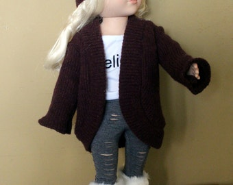 "Slouch sweater and head wrap for 18"" doll"