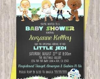 Star Wars Baby Boy Shower Invitation, Blue Green Chalkboard Baby Shower Invite 5x7 printable JPG