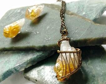 Raw Citrine Jewelry Set - Wire Wrapped Crystal - Healing Crystal Jewelry- Mens Crystal Necklace - Citrine Point -November Birthstone Jewelry
