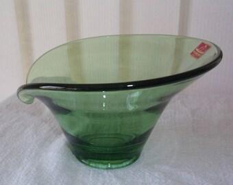 Green Viking Glass Lipped Dish, Bon Bon Bowl, Vintage, art glass, Epic mid century modern, original sticker, like new condition