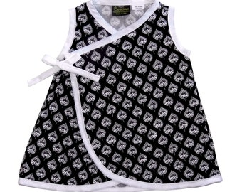 Black And White - Black - Leaf - Minimalist - Baby Dress - Girls Dress - Wrap Dress - Conscious Childrens Clothes - Nb - 6m - 12m - 18m