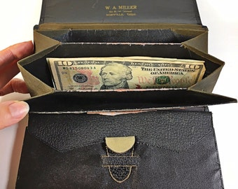 Vintage black fold over wallet leather antique Miller Norwalk Ohio