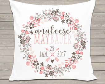 Floral wreath personalized birth pillow with removable pillow case - great new baby welcome gift BP-008
