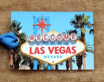 Welcome To Fabulous Las Vegas Vintage Sign Souvenir Postcard Gift or Scrapbook Tags or Magnet #G 30