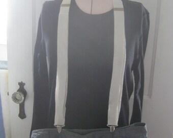 Vintage White Gatsby Suspenders