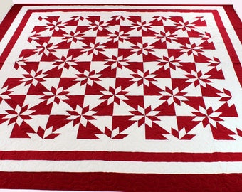 Unique Red and White Star Field patchwork FINISHED QUILT Great Graphic Look !