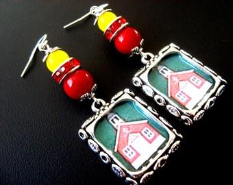 Teacher Earrings, Teacher Jewelry, School Earrings, School Jewelry, House Earrings, House Jewelry, Rhinestone Earrings