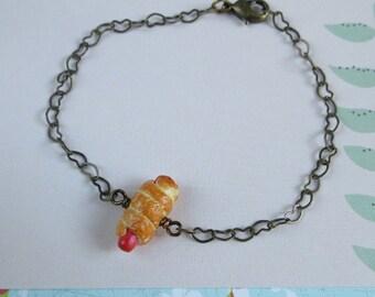 Sausage Roll Bracelet, Miniature Food Bracelet, Brass Heart Chain, Fimo Polymer Clay Jewelry