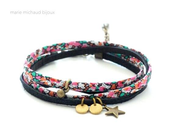 Liberty bracelet,Wrap bracelet,Colorful bracelet,Textile bracelet,Textile jewelry,Liberty jewelry,Liberty wrap bracelet,Double wrap bracelet