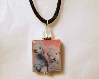 BEDLINGTON TERRIER SCRABBLE Pendant / Beaded Necklace with Satin Cord / Dog Jewelry / Charm