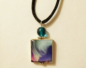 Northern Lights / Aurora Borealis Jewelry / Beaded Scrabble Pendant / Upcycled Handmade Necklace with Satin Cord / Alaska