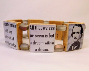 POE Quotes Bracelet / Edgar Allan Book Lover Gift / Scrabble Handmade Jewelry / Poetry