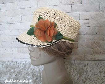 Straw Woman  summer  hat, natural color, Orange organza flower,l sun hat for women, Spring hat For her, handmade flowers